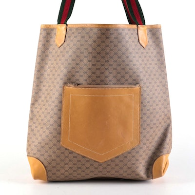 Gucci GG Coated Canvas and Tan Leather Web Strap Tote Bag
