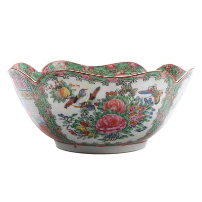 Chinese Rose Medallion Scalloped Porcelain Bowl