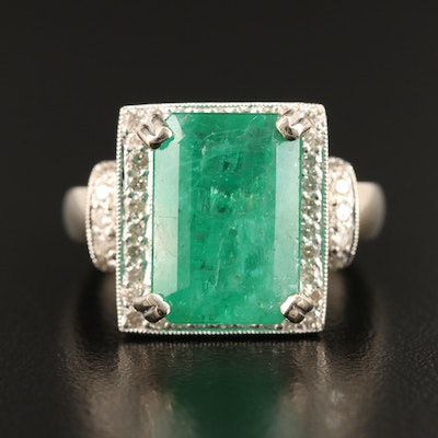 14K 6.53 CT Emerald and Diamond Ring