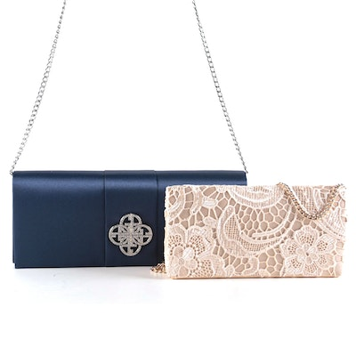 Giani Bernini Blue Satin and Off-White Lace Clutches
