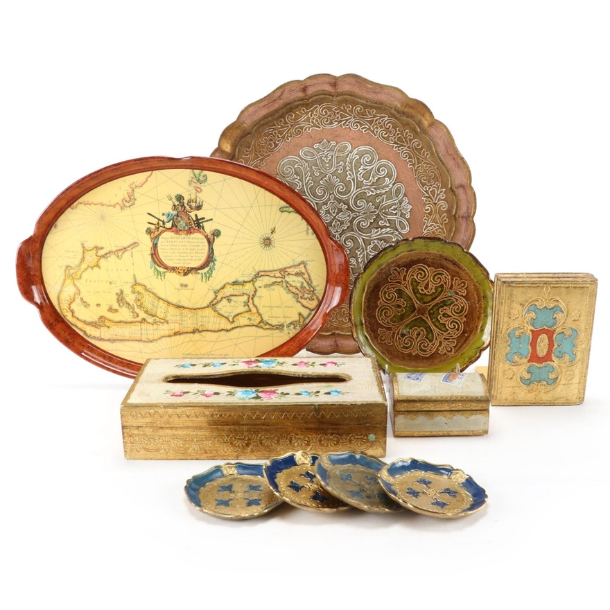 Vanity Boxes, Decorative Trays, Bookend, Tissue Box and Decorative Plates