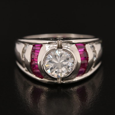Sterling Cubic Zirconia and Ruby Ring