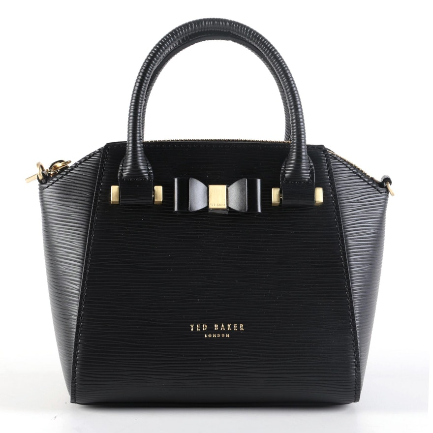 Ted Baker Bow Accent Black Leather Two-Way Top Handle Bag