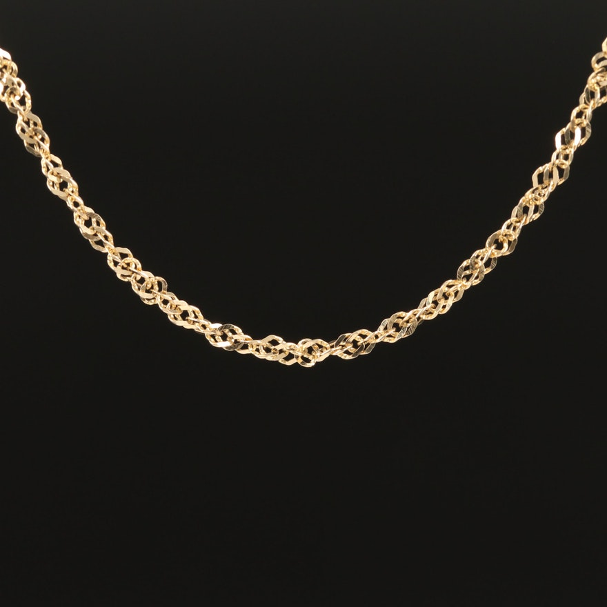 14K Singapore Style Chain Necklace