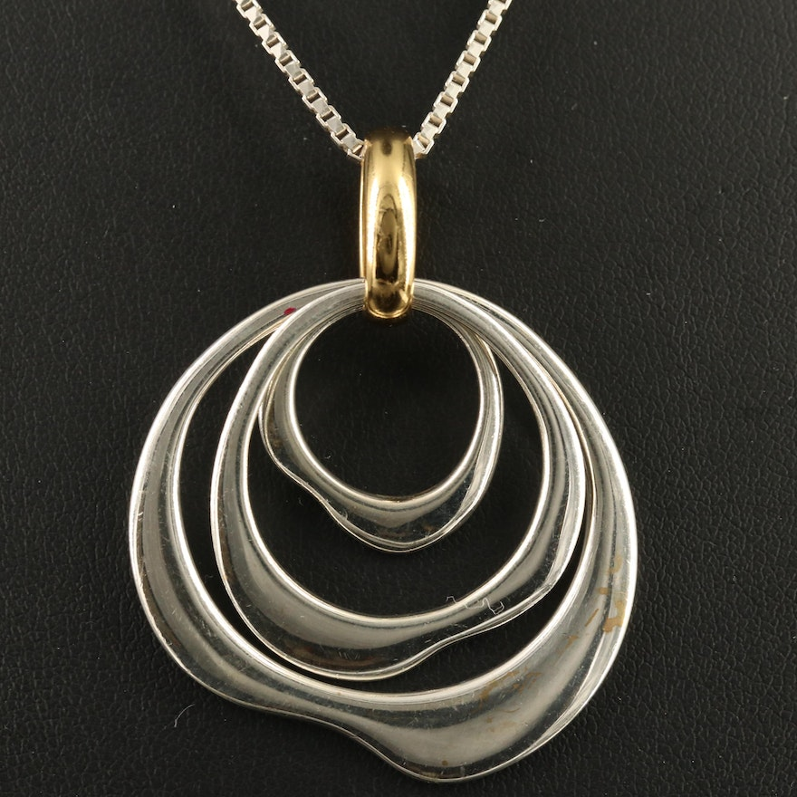 Sterling Pendant Necklace with Brass Ring Accent