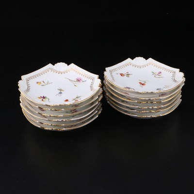 Gilded, Floral Decorated Porcelain Plate Set