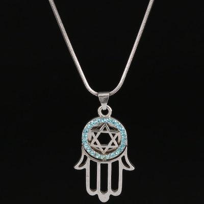 Rhinestone Star of David with Hamsa Pendant Necklace