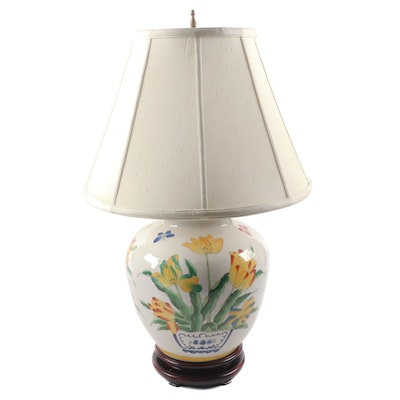 Delft Style Polychrome Ceramic Table Lamp With Linen Lampshade