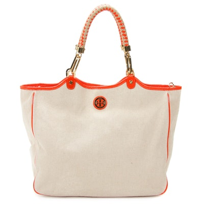 Tory Burch Tote in Canvas and Orange Patent Leather