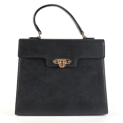 Valentino Garavani Black Leather Top Handle Bag