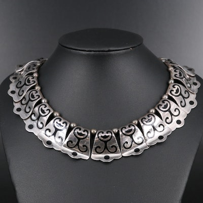 Margot de Taxco Sterling Silver Enamel Panel Necklace