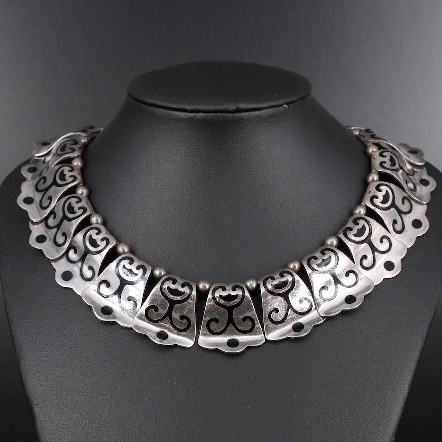 Margot de Taxco Sterling Silver Enamel Panel Necklace