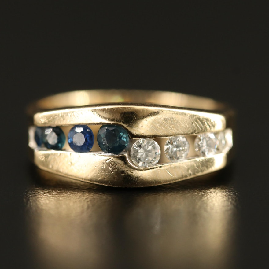 14K Diamond and Sapphire Channel Ring