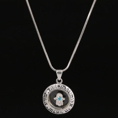 Rhinestone and Enamel Evil Eye Gold Filled Pendant Necklace