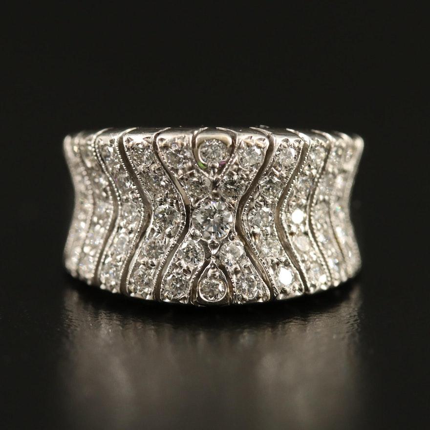 18K 1.00 CTW Diamond Concave Band