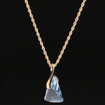 14K Geometric Faceted Topaz Pendant Necklace with Magnetic Clasp