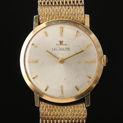 Vintage LeCoultre Ultra-Thin 14K Gold Stem Wind Wristwatch