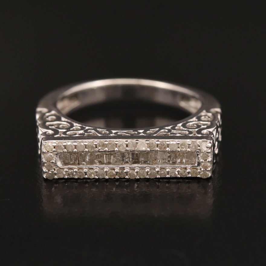 Sterling Silver Diamond Ring with Scrolling Design