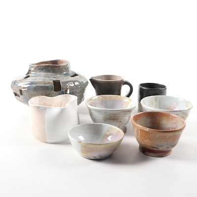 Grouping of Hand Thrown Stoneware Bowls, Cup and Vases