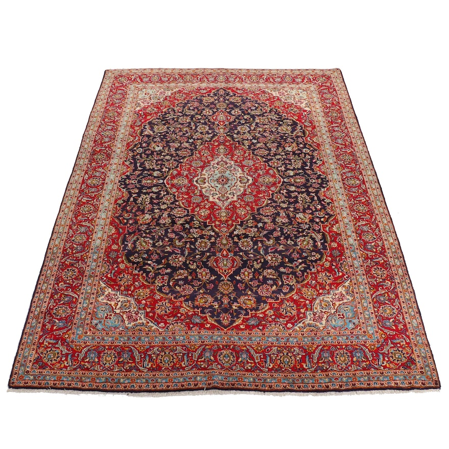 9'9 x 13'7 Hand-Knotted Persian Kashan Rug, 1970s