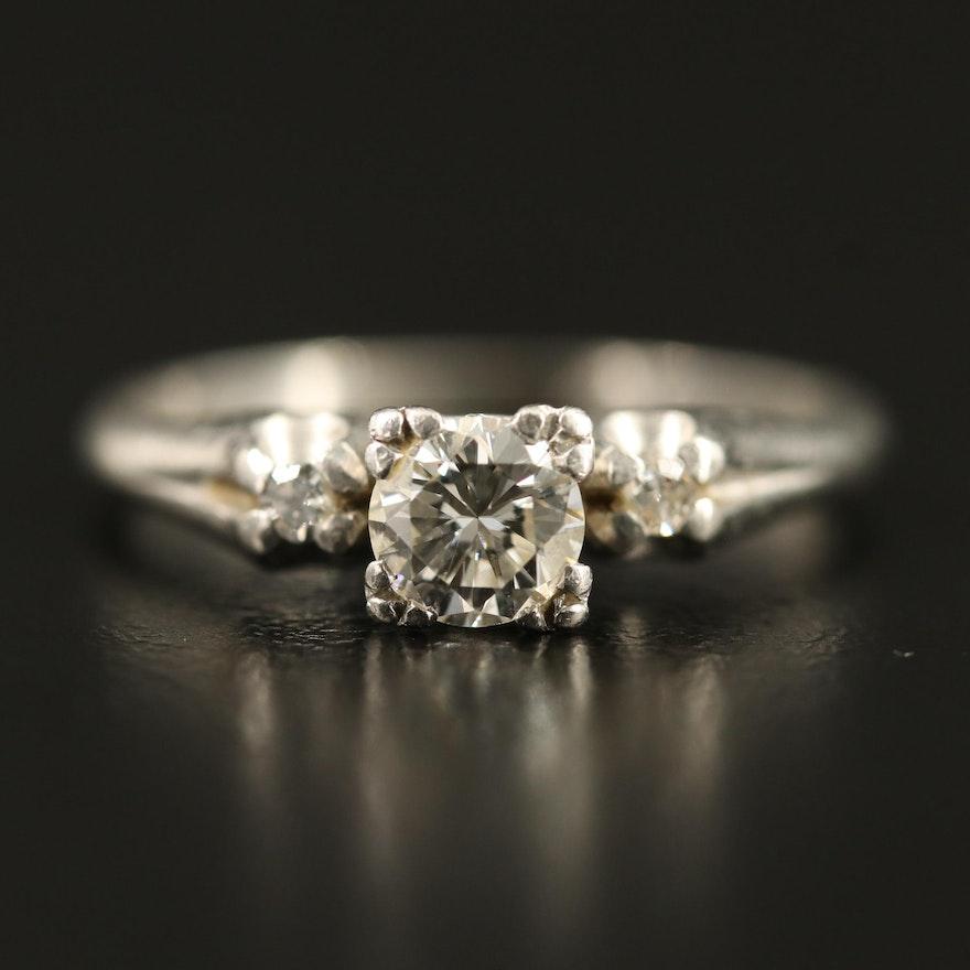 Vintage Platinum Diamond Three Stone Ring