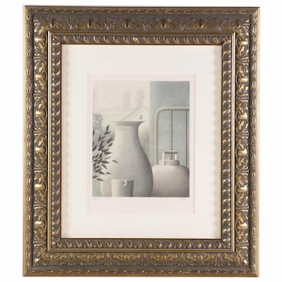 """Robert Kipniss Lithograph """"Interior with Cup and Kettle"""""""