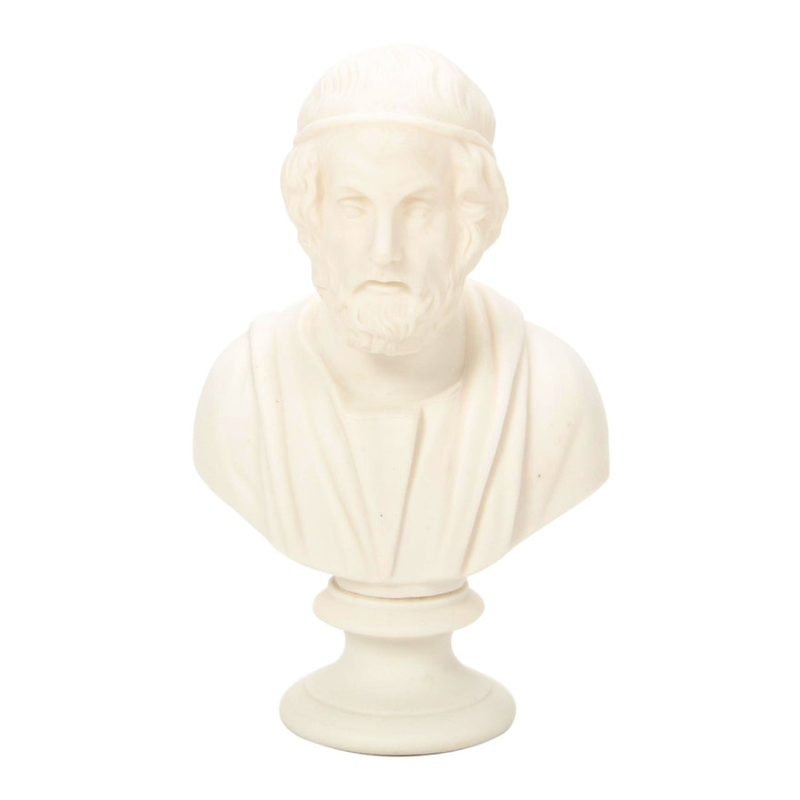 James and Thomas Bevington Parian Ware Bust of Homer, Late 19th Century