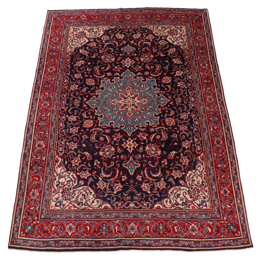 7'3 x 10'8 Hand-Knotted Persian Sarouk Rug, 1970s