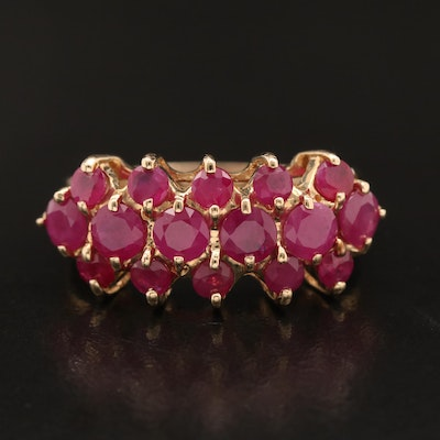 14K Ruby Triple Row Ring