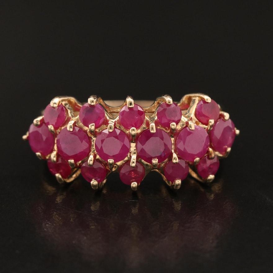 14K Ruby Triple Row Ring