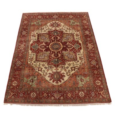 9' x 12'3 Hand-Knotted Indo Persian Heriz Serapi Room Sized Rug, 2010s