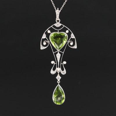 Platinum Peridot, Diamond and Seed Pearl Pendant Necklace