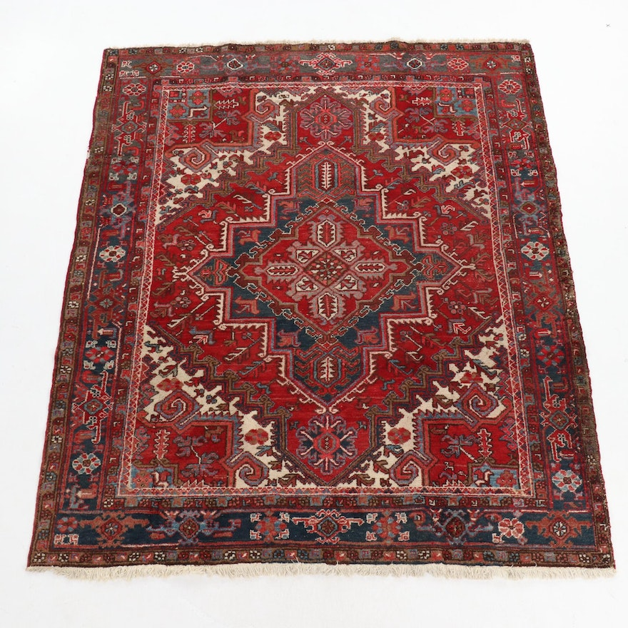 7'4 x 9'2 Hand-Knotted Persian Heriz Rug, 1930s