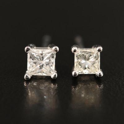 14K 0.60 CTW Princess Cut Diamond Stud Earrings