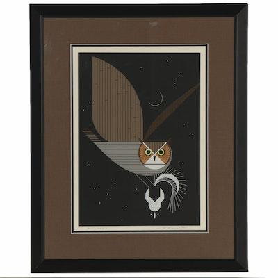 """Charley Harper Serigraph """"Pfwhooooooooooo!,"""" 1975"""