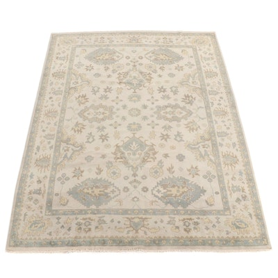 9'2 x 12' Hand-Knotted Indo Turkish Oushak Rug, 2010s