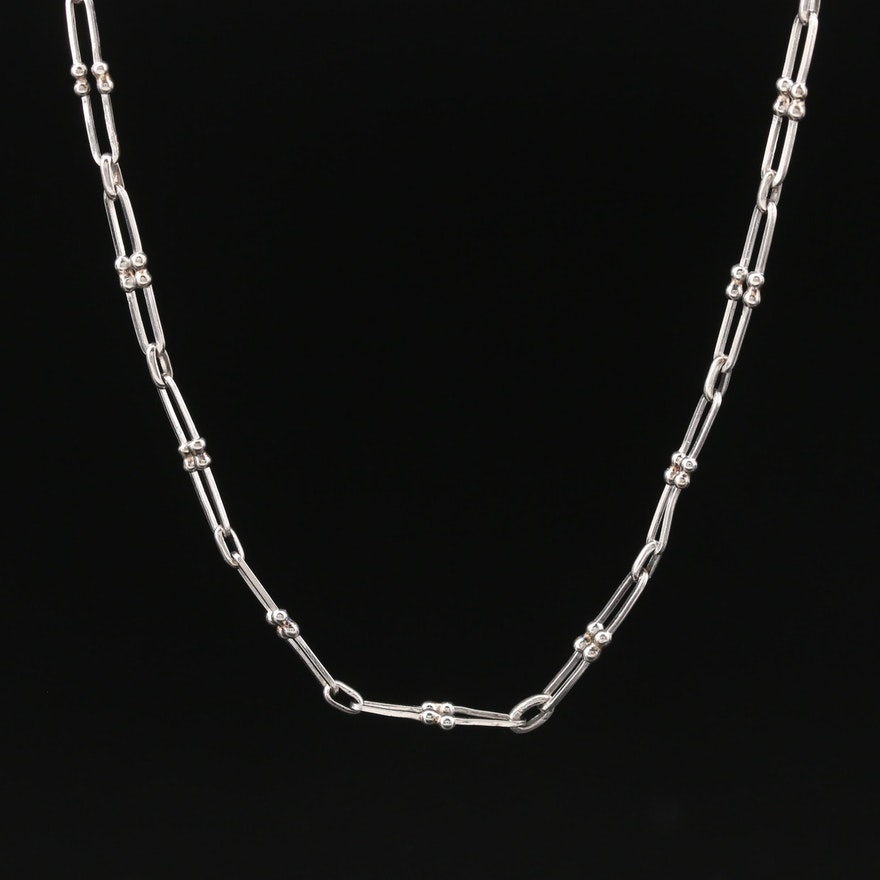 Platinum Fancy Link Chain Necklace