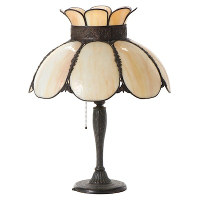 American Bent Glass Crown Shaded Spelter Table Lamp, Early 20th C