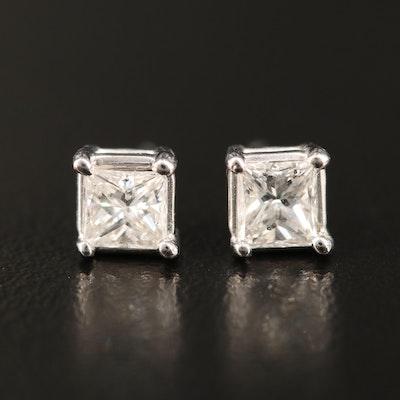 14K 0.74 CTW Princess Cut Diamond Stud Earrings