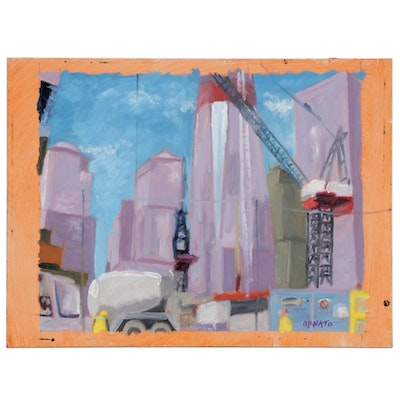 "Vince Ornato Oil Painting ""Ground Zero Study,"" 21st Century"