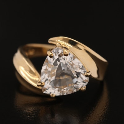 14K Trillion Cut Topaz Bypass Ring