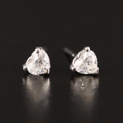 14K 0.46 CTW Heart Brilliant Diamond Stud Earrings