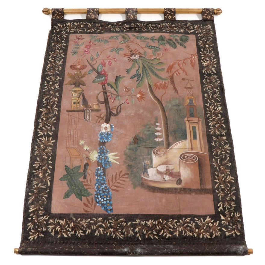 Chinese Style Hanging Textile Painting, Late 20th Century