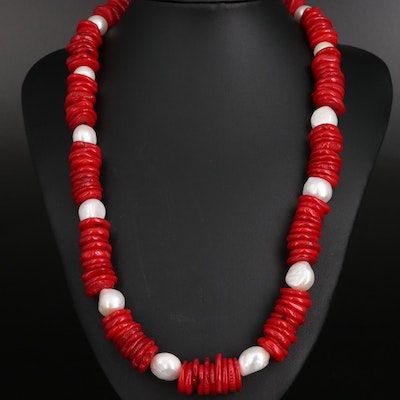 Pearl and Coral Strand Necklace with Sterling Clasp