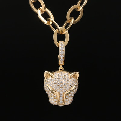 18K 1.00 CTW Diamond Feline Enhancer Pendant Necklace