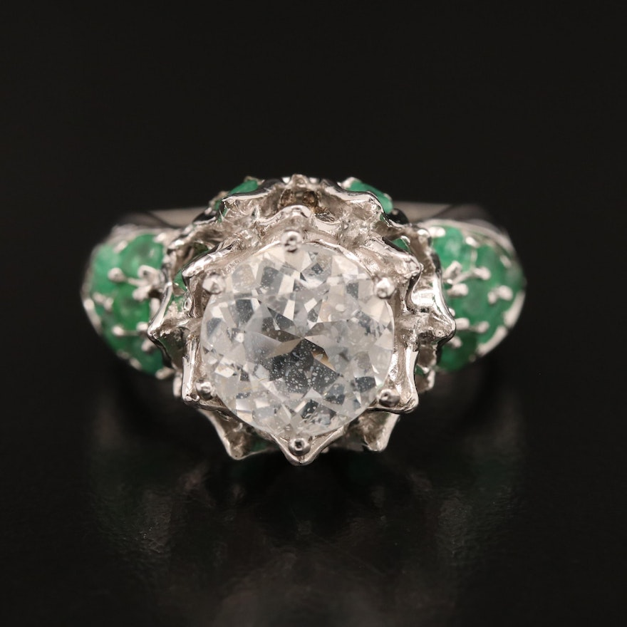 Sterling Silver Topaz and Emerald Crown Motif Ring