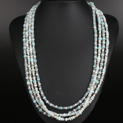 Pearl, Larimar and Aquamarine Multi-Strand Necklace