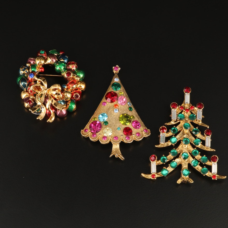 Rhinestone Holiday Themed Brooches Featuring Christopher Radko and Weiss