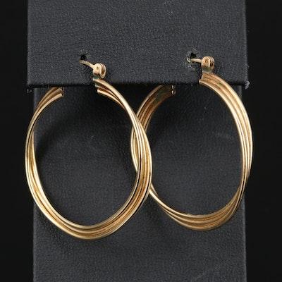 14K Triple Twisted Hoop Earrings