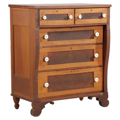 American Empire Maple and Walnut Chest of Drawers, Early 20th Century